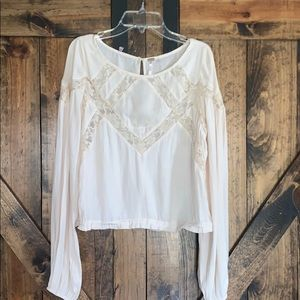 NWT Free People cream lace long sleeve blouse